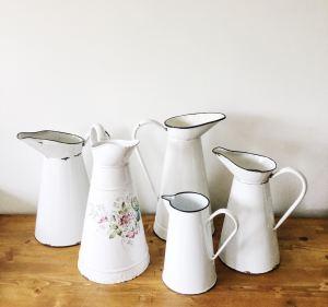 enamel jugs and vases